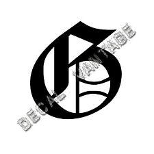 Old English G Letter Initial Vinyl Sticker Decal Font Diploma Choose Size &Color