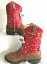 """Toddler/ Youth Smoky Mountain """"1161""""- Austin Lights Red/Brown Western Boot"""