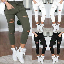 UK Womens Stretchy Ripped Slim Fit Skinny Leggings Trousers Casual Pencil Pants