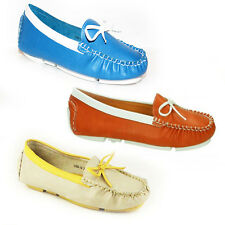 WOMENS LADIES SLIP ON FLAT BOAT ROUND TOE LOAFERS MOCCASINS PUMPS SHOES SIZE 3-8