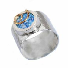 925 Sterling New Silver Roman Glass Ring Hammered Round Gold Spiral Wide 13mm