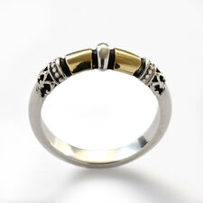 Oxidized 925 Sterling Silver Gold Filigree Ring Band Ethnic Recycled Metals 6mm