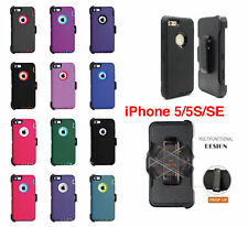For iPhone SE 5s 5 Defender Case w/Screen Protector Holster [Clip Fits Otterbox]