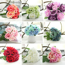 9 Head Artificial Rose Peony Flowers Bouquet For Wedding Home Party Decoration