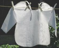 Vtg Baby Toddler White Pinafore Hand Embroidered Mother Goose Smock Apron Geese