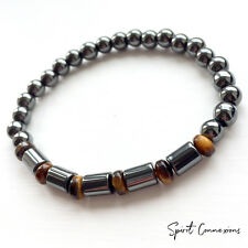 Hematite and Tigers Eye Bracelet 6mm Bead Stretch Fit Custom Size UK