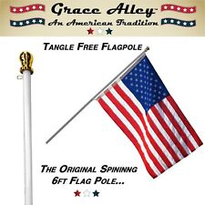 Flag Pole: Tangle Free Spinning Flagpole Residential or Commercial 6ft Flag...