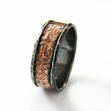 925 Sterling Silver Copper Band Oxidized Hammered Rustic Design Handmade 19mm