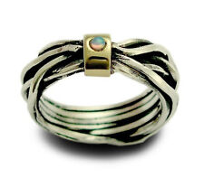 925 Sterling Silver Gold Ring Wrapped Abstract Wire Yellow Carrier w/ Opal 8mm
