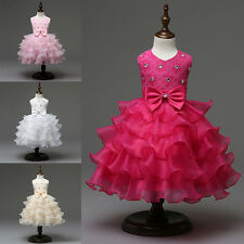 Flower Girls Kids 3-7Y Princess Party Pageant Wedding Bow Layers Tutu Dresses