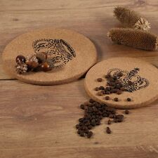 Cork Wood Coaster Cup Mat Flexible Heat Resistant Round Drinks Mat-Crown ZP