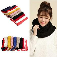 Fashion Women Winter Warm Knit Neck Circle Wool Cowl Snood Long Scarf Shawl Wrap