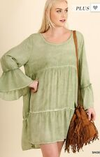 Umgee Green Sage  Hippie Tunic Top ~ Plus ~ XL, 1X,  2X