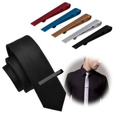 Fashion Mens Stainless Steel Tone Simple Necktie Tie Bar Clasp Clip Clamp Pin