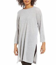 NWT Eileen Fisher Bateau Neck Tunic Gray Dark Pearl Fine Tencel Alpaca $228 – L