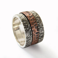 925 Sterling Silver Copper Ring Oxidized Filigree Hammered Wide Handmade 13mm