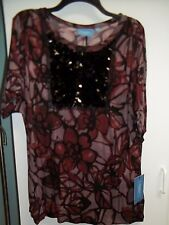 NWT Misses Size Med. Top by Simply Vera Vera Wang, Floral Print, Sequins
