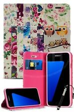 For Samsung Galaxy S7 Edge Duos Dual SIM Pattern Flower Magnetic Case & Ret Pen