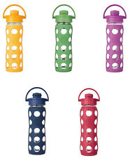 Lifefactory Glass Water Bottle w/Flip Cap & Silicone Sleeve, 3 Sizes, 15 Colors