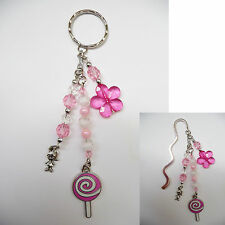 Beaded Silver Bookmark OR Handbag / Bag Tag / Keyring Dangle - Lollipop