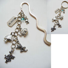 Beaded Silver Bookmark OR Handbag Bag Tag / Keyring Dangle - Alice in wonderland