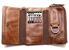 CONTACT'S Men Genuine Leather Car Key Case Coin Trifold Wallet Card Holder NEW