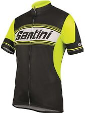 Santini Black-Yellow Tau Short Sleeved Cycling Jersey