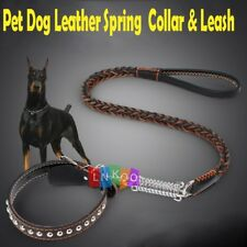 Pet Dog Leather Collar & Leash in 1 Braided Pet Chain Rope W/Spring for Big Dogs