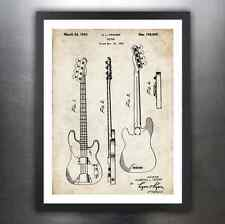 FENDER PRECISION BASS GUITAR 1951 PATENT PRINT POSTER VINTAGE ELECTRIC P PBASS