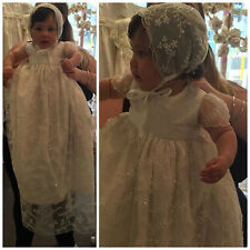 Luxury Baby Girls Christening Gown Lace Beads White Ivory Baptism Dress +Bonnet