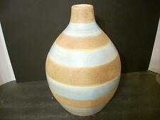 """BLUE AND TAN TEXTURED ART POTTERY VASE 12 3/4""""  (8D)"""