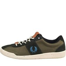 NEW GENUINE Fred Perry Mens Stockport Nylon/Suede Trainer Hunting Green 7-10 UK