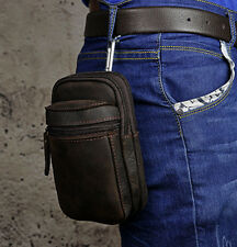 Men Oil wax Genuine Leather Cowhide hook Belt Waist Fanny Bag Phone Bag wallet