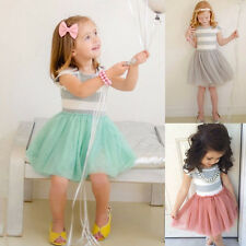 Toddler Baby Girls Kids Princess Tutu Dress Pageant Party Short Sleeve Dress