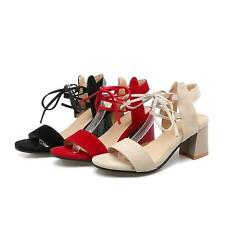 Women's Elegant Sandals Roman Style Ankle Strappy Shoes Thick Heels#PLUS 10.5