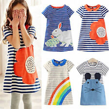 Baby Girls Striped Cartoon Printed Mini Dress Short Sleeve Summer Tunic Sundress