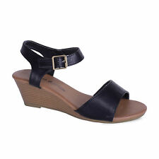 Womens Black Faux Leather Style Strappy Party Wedges Sandals Ladies Shoe Size