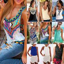 Womens Sleeveless Blouse Tank Tops Casual T-Shirt Vest Summer Beach Pullover Top