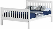 DOUBLE WHITE BED FRAME HIGH FOOT END WOODEN BED SET