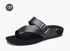 Men's casual Beach Sandals leather gladiator buckle strap flip flops#SUMMER