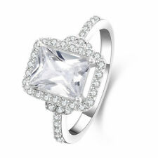 Fashion Baguette Zircon Simulated Diamond 925 Sterling Silver Wedding Ring Gift