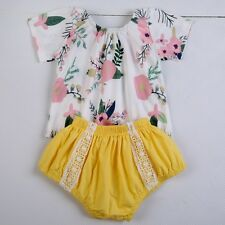 0-18M Baby Kids Girl 2Pc Floral Print Short Sleeve Tops Pants Outfits Clothes