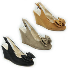 WOMENS LADIES HIGH WEDGE HEEL PEEP TOE SLINGBACK BOW SANDALS SHOES SIZE 3-8