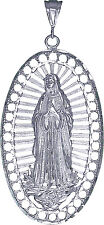 Sterling Silver Virgin Mary Pendant Necklace Huge 3.8 inches Diamond Cut Finish