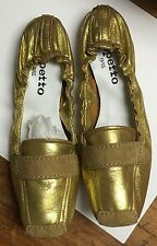 REPETTO ESPRIT MOCASSIN PEPITE Gold flat ballet driver light brown suede New Box