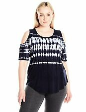 Calvin Klein Performance Women's Plus SZ Bali Stripe Tie Dye Cold Shoulder