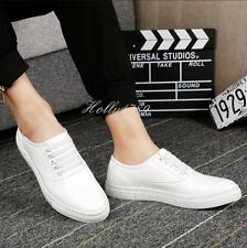 Stylish mens casual vogue comfort loafer sneaker leather shoes#BLACK/WHITE