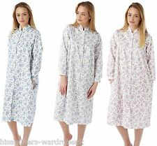 Ladies Marlon Light Weight Floral Quilted Button Front Gown Jacket Nightwear NEW