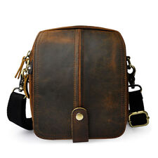 Oil Wax Genuine Leather Shoulder Bag Men Belt Fanny Waist Bag Messenger Bags