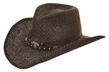 Jack Daniels Men's JD Twisted Toyo Straw Western Cowboy Hat Black/Brown JD03-706